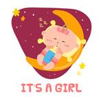 卡通月亮上的婴儿
