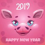 新年粉猪贺卡