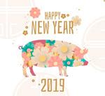 2019花卉猪贺卡