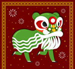 绿色春节舞狮子