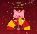 春节猪和扇子
