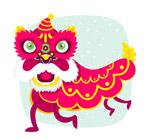 玫红色庆典舞狮子