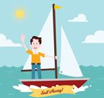 帆船上招手的男子