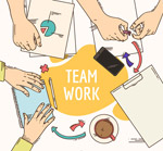 团队合作桌面俯视图