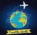 卡通环球旅行飞机
