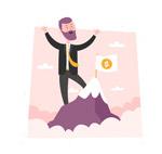 登上金币山峰的男子
