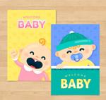 可爱迎婴卡片