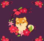可爱樱花和狐狸