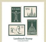 地标建筑邮票矢量