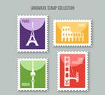 旅游元素邮票矢量