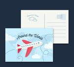 环球旅行飞机明信片