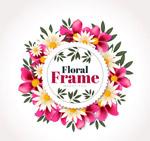 粉色和白色花卉框架