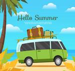 夏季沙滩旅游巴士