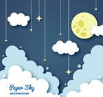 夜空中的月亮和云朵