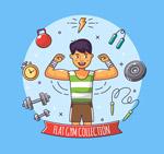 彩绘健身男子
