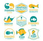 彩色鱼元素标志