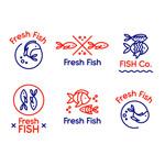 手绘新鲜鱼标志
