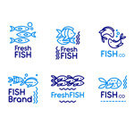 蓝色鱼标志矢量