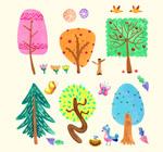 树木和花鸟设计
