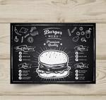汉堡包店黑板画菜