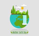 地球日自然瀑布风景