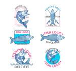 手绘鱼类标志