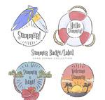 夏季标签和徽章