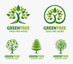绿叶与树木元素标志