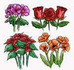 4组手绘彩色花束