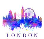 水彩绘伦敦建筑剪影