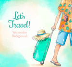 拉行李箱的旅行人物