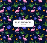 热带花鸟无缝背景