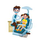 治疗牙齿的女孩和牙医