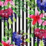 花卉和黑白条纹背景
