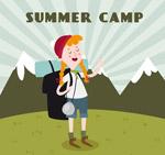 夏季野营的背包女子
