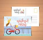 骑单车女子明信片