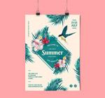 花鸟夏季节日传单
