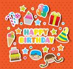 可爱儿童生日贴纸