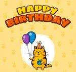 笑脸猫咪生日贺卡