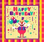 小丑彩色生日贺卡