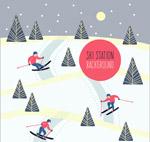 雪地滑雪的人物