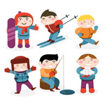 冬季运动男孩情景