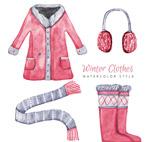 水彩绘冬季服饰