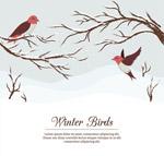 彩绘冬季树枝和鸟