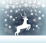 雪中的驯鹿剪影