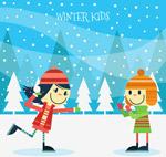 打雪仗玩耍的儿童