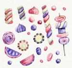 紫色和粉色糖果