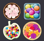 盘装糖果俯视图