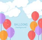 云朵和彩色气球
