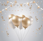 金色和银色气球束